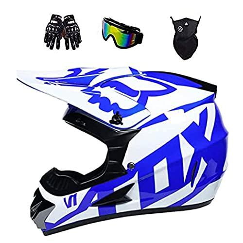 YEKZDD Casco De Moto De Cross para Niños Jóvenes, Casco De Cross con Gafas Guantes Máscara Casco Motocross para Downhill Enduro Dirt Bike Quad ATV BMX con Diseño Fox