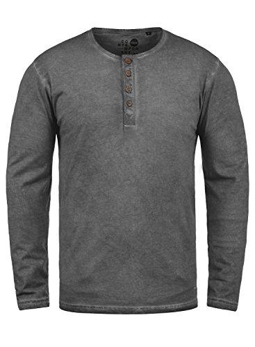 !Solid Timur Herren Longsleeve Langarmshirt mit Grandad- Ausschnitt aus 100% Baumwolle Slim Fit Meliert, Größe:XL, Farbe:Dark Grey (2890)