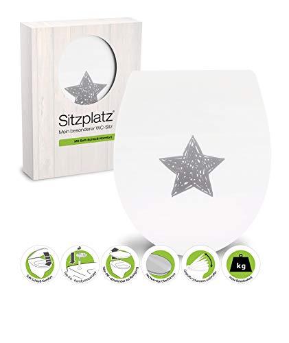 SITZPLATZ® WC-Sitz mit Absenkautomatik, Dekor Glücksstern, High Gloss Toilettendeckel, antibakterieller Duroplast, Top-Fix Befestigung von oben, abnehmbar, Standard O Form, Metallscharnier, 40345 0