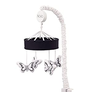 NoJo Dreamer Butterflies Mobile Nursery Crib Changing Table Musical Mobile Black and White Butterflies STEM Butterflies Black/White