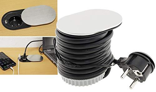 Edelstahl Einbau-Steckdose mit USB 2,4A Montage in Schreibtisch- und Arbeitsplatten Schutzkontakt-Steckdose mit 1,90m Anschlusskabel Edelstahl Front