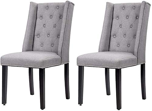 Kitchen Dining Chairs Dining Room Chairs Parsons Chair, Chairs Set of 2 Dining Chairs Side Chairs for Home Kitchen Living Room, PU Leather upholstered Best Dining Chair Set - Grey