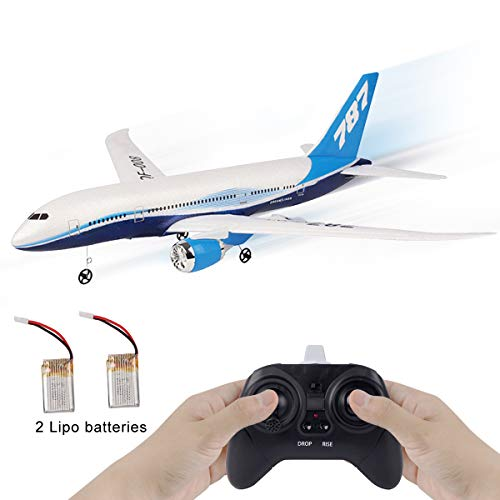 RC Airplanes 550mm Wingspan Glider 3CH 2.4Ghz DIY Remote Control Airplane Toy EPP Built-in Gyro QF008-787 Beginner Remote Control Plane with 2pcs Battery
