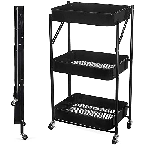 GIOAMH Kitchen Multifunctional Shelf Cart,3 Tiers Rolling Cart,Kitchen Trolley,Organisation Cart With Wheels,Rolling Trolley,Storage Rack, Fruit Vegetable Rack