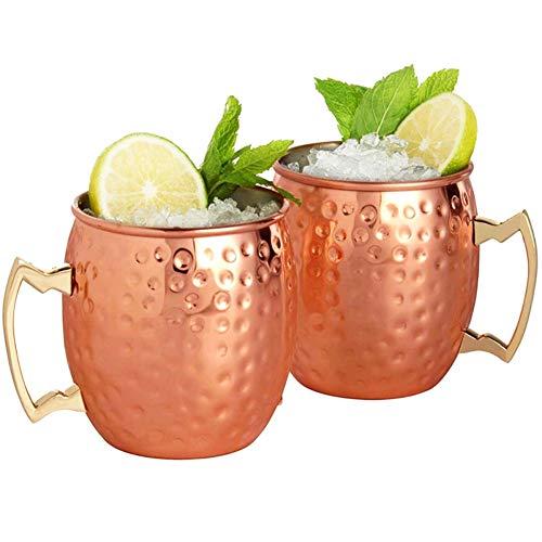 Tazas de Cobre de Moscow Mule Juego de dos, CNNIK Copa de cóctel de 530 ml - Apto para cualquier bebida helada - Cerveza, Coctel - Bar o en casa