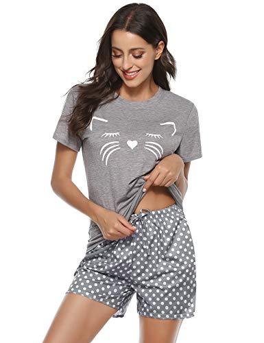 Aibrou Damen Sommer Kurz Katzen Schlafanzug Sommer Kurz Pyjama Set Nachtwäsche Hausanzug Grau S