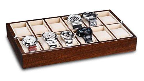 Ferocase Schubladen Organizer Display für 12 Uhren oder Schmuck 35 x 20 cm walnussdekor