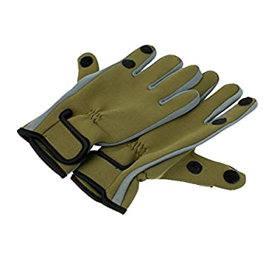 MagiDeal Water Resistant Neoprene Professional Fly Fishing Gloves Anti Slip Rock Fishing Gloves Army Green from MagiDeal