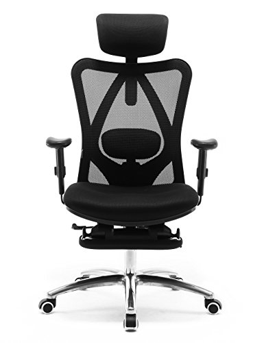 SIHOO Ergonomischer Büro-Liegestuhl mit Fußstütze, Computer-Schreibtischstuhl, verstellbaren Kopfstützen Stuhllehne und Armlehnen-Netzstuhl (Schwarz)