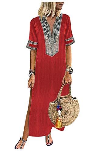 Abito Indiano Donna Tradizionale Caftano Boho Chic Kaftano Lungo Aperto Vestito Stampa Etnica Abiti con Spacco Laterale Eleganti Tunica Lunga Estiva Vestiti da Cerimonia Sera Giorno Mare Maxi Dress