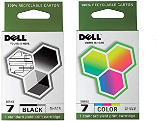 Dell DH828 DH829 966 968 Series 7 Ink Cartridge (Black & Color, 2-Pack) in Retail Packaging