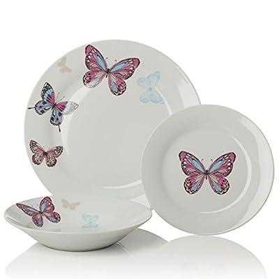 Sabichi Mariposa Porcelain Butterfly 12 Piece Dinner Set