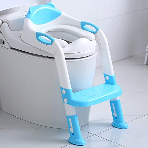 Potty Training Seat Step Stool Ladder Toddlers,Potty Training Toilet Seat Kids,Toilet Training Potty Chair for Boys Girls (Sky Blue) Mississippi