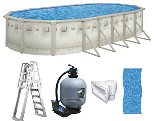 Brazil 18' x 33' x 52' Oval Above Ground Swimming Pool Premium Package