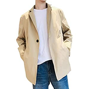 (エレガンザー)トレンチコート メンズ おしゃれ 春 スタンドカラー スリム 無地 春服 防風 ロングジャケット スプリングコート ブラック/ベージュ (ベージュ1, XL)