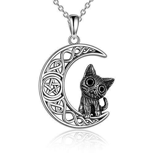 POPLYKE Cat Necklace for Women Girls 925 Sterling Silver Celtic Moon Cat Wiccan Jewelry Giftsfor Wife Daughter