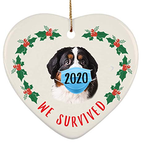 Lovesout We Survived 2020 Quarantine Bernese Mountain Dog Tri Color Smile Christmas Heart Ornament