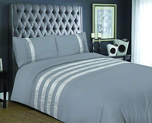 Bronwen Mathews Glitz Diamante Lace Embellishment Bands Sparkle Grey king size Duvet Quilt Cover bedding set includes pillowcase pair king duvet bed sets (Grey, King Duvet Cover)