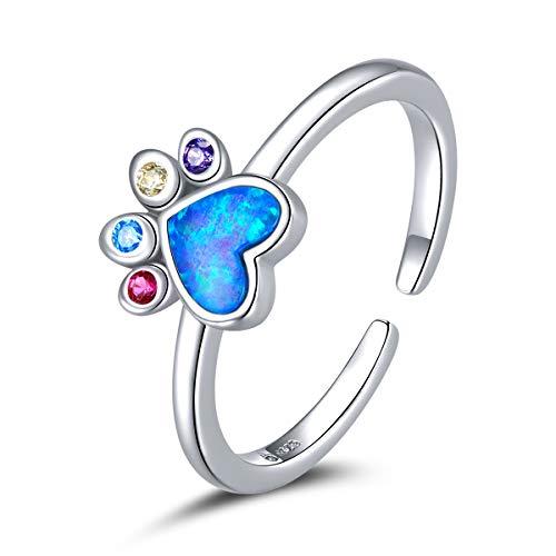 Anello in argento sterling per ragazze Colorato Dream Crown Blue Opal Anelli per pollice regolabili per le donne