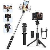 Yoozon Bluetooth Selfie-Stick Stativ mit Fernbedienung Ausziehbar,Handgriff Aktionkamera Stick Tripod,Selfie Stange kabellos universal für GoPro,Action Cam und alle 3,5-6,5' iPhone Android Smartphones