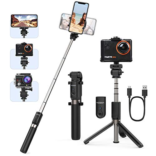 """Yoozon Selfie-Stick Stativ mit Fernbedienung Ausziehbar,Handgriff Aktionkamera Stick Tripod,Selfie Stange kabellos universal für GoPro,Action Cam und alle 3,5-6,5\"""" iPhone Android Smartphones"""