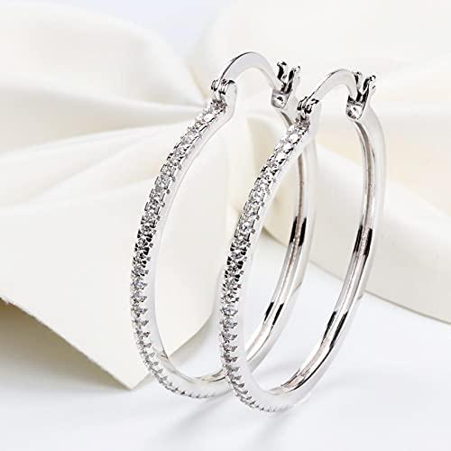 Vottle 925 Pendientes de circonita con Incrustaciones de círculo Grande de Plata esterlina para Mujer s925 Pendientes de Modelo Brillante de círculo de Plata para Mujer