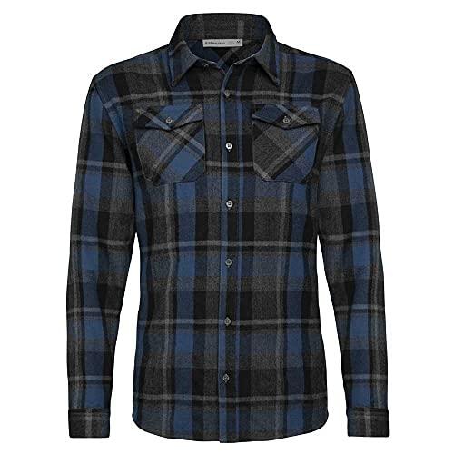 icebreaker Mens Lodge Ls Flannel Shirt Langärmliges Hemd Herren, Herren, Langarm-Hemd, 104478A43XXL, Schwarz, XXL
