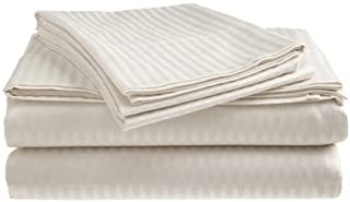 Deluxe Hotel 4-Piece Bed Sheet Set - Dobby Stripe - 100% Cotton Sateen - 300 Thread Count - King - White