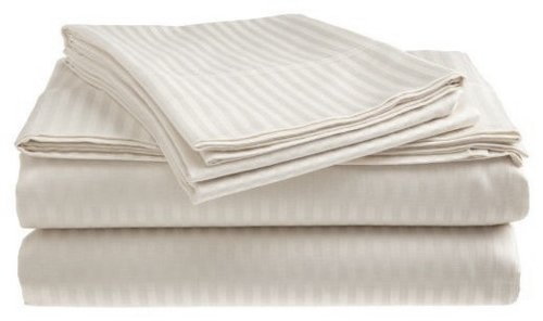 London Home 4-Piece Bed Sheet Set - Dobby Stripe - 100% Cotton Sateen - 400 Thread Count - Queen - White