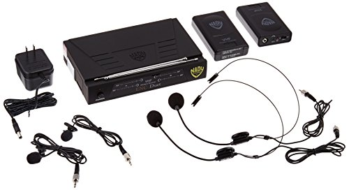 Nady ENC DUET Wireless Dual Channel Headset + Lapel Lavalier Microphone System,4 Microphone (HM-3 + LM-14)
