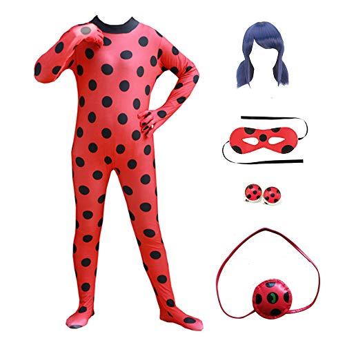 KLCH Kinder Mädchen Festlich Kostüm, Cosplay Overall für Ladybug mit Perücke Augenmaske Ohrringe & Tasche, Halloween Karneval Weihnachten Kostüm M(120-130cm)