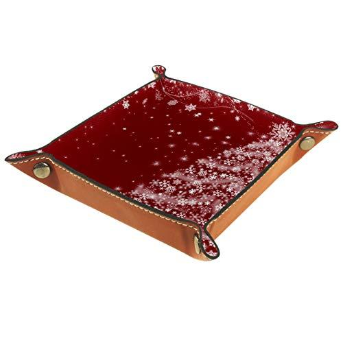 YATELI Caja de Almacenamiento pequeña, Bandeja de Valet para Hombre,Copo de Nieve mágico del árbol de Navidad,Organizador de Cuero para Llaves de Caja de Monedas