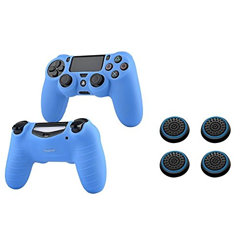 Insten [2 Pair / 4 Pcs] Silicone Analog Thumb Grip Stick Cover (Black/Blue) + PS4 Controller Silicone Skin Case Compatible With Sony PlayStation 4 (Blue)