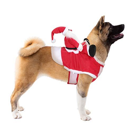 POPETPOP Hund Santa Claus Reiten Weihnachtskostüm - Premium Haustier Kleidung Weihnachten Reiten Outfit für Kleine Große Hunde Katzen Kleidung Weihnachtsfeier Anzieh Kleidung