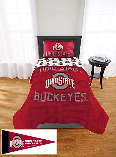 Ohio State Buckeyes Twin Comforter, Sheet Set & Sham, 5 Piece Bedding, New! + Pennant Flag