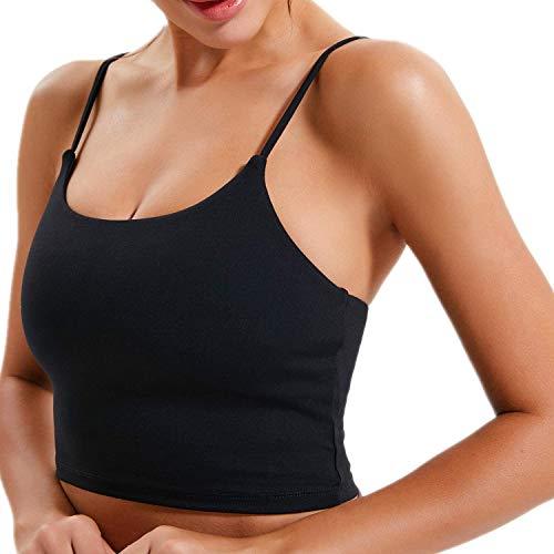 UOTJCNR Women's Longline Yoga Tank Top Padded Sports Bra Workout Fitness Running Camisole Crop Top Black