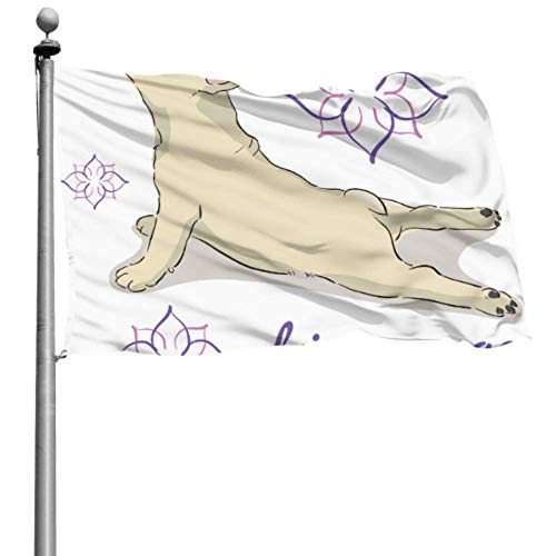 Like-like Funny Yard Flag Funny Yoga Dog Cute Puppy Yard Flag Stand Impreso Flag 4x6 Ft (120x180cm) Poliéster