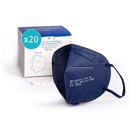 ProPulsan I 20 Stück Atemschutzmaske FFP2 Maske I CE zertifiziert 2834 I einzelverpack im PE-Beutel I dunkelblau I inkl. Maskenhalter