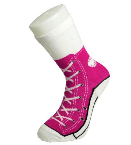 Sneaker Socken pink - Silly Socks im Sneakers Turnschuhe Stil, Gr��e UK  Size 3-7