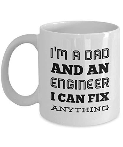 Ik ben een vader en een ingenieur die ik alles kan repareren, 11 oz keramische witte koffiemokken, vaderdagcadeau, beste grappige, inspirerende theekopjes voor papa, ingenieur papa nieuwigheid ideeën, unieke geschenken voor pop