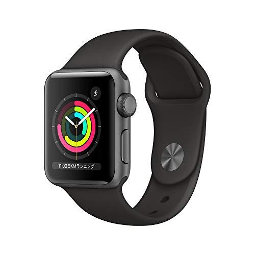 Apple Watch Series 3(GPSモデル)- 38mmスペースグレイアルミニウムケースとブラックスポーツバンドMTF02J/A