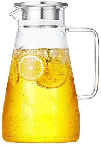Jarra de té con tapa y mango de borosilicato, resistente al calor, agua fría, vino, café, leche y zumo, jarra de bebidas con boquilla (tamaño: 1800 ml)