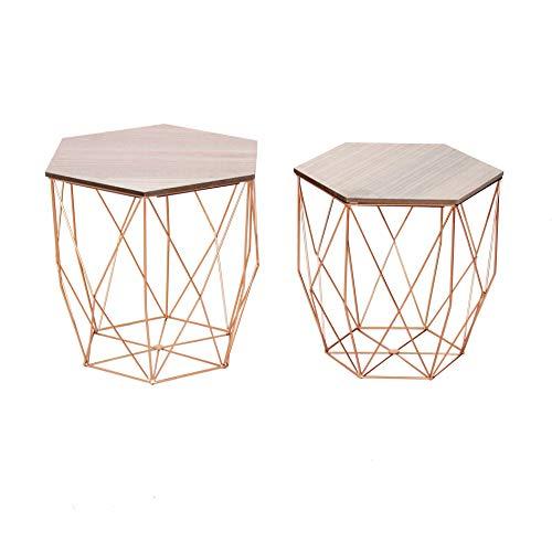 Cribel Modello Hexagon Set da 2 Tavolini in Metallo con Base Amovibile in Legno, Struttura Oro