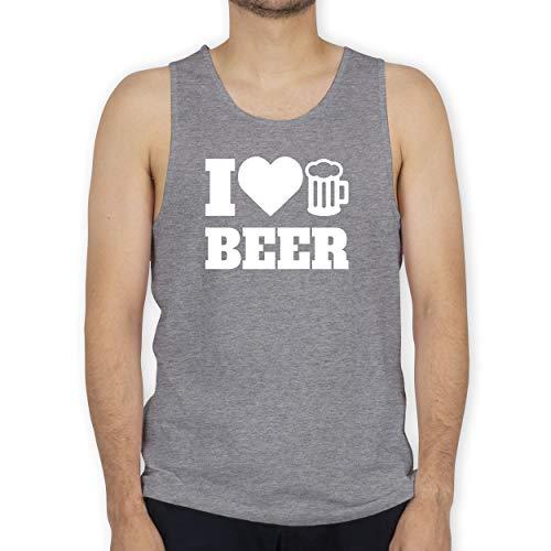 Shirtracer Oktoberfest & Wiesn Herren - I Love Beer - weiß - M - Grau meliert - Tank Top - BCTM072 - Tanktop Herren und Tank-Top Männer