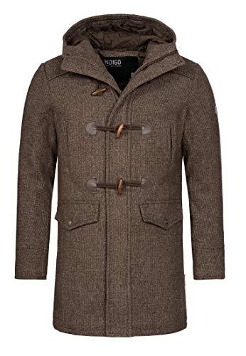 Indicode Herren Liam Dufflecoat mit Stehkragen und Kapuze | moderner Wollmantel mit 5 Taschen Warmer Wintermantel gefütterter Herrenmantel Winter Jacke Mantel für Männer Demitasse Mix M