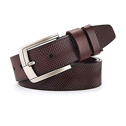 Without logo SFQRYP Cinturón de Cuero Hombres Masculino Correa de Cuero Genuino Cinturones para Hombres Hebilla de Lujo Vintage Jeans (Belt Length : 115cm 33to35 Incn, Color : B Brown)