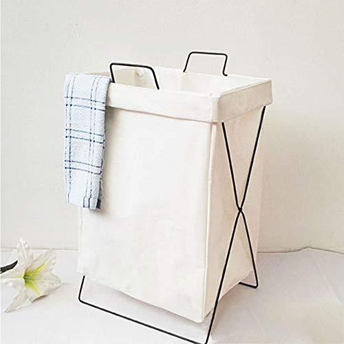 TOBY Panier de blanchisserie de Coton Lin Se Pliant, Amovible Stockage Organisateur Transport Panier à Linge bébé Articles ménagers Essentiels-A 48x35x30cm(19x14x12inch)