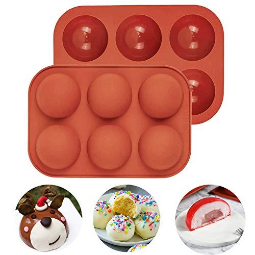 Molde semicircular de silicona para hornear y hacer gelatina, pudín, chocolate, decoración de tartas (rojo ladrillo de 5,2 cm, 2 unidades)