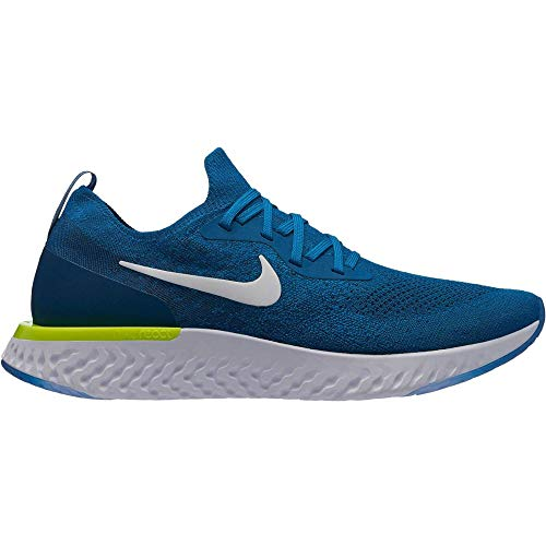 Nike Herren Epic React Flyknit Laufschuhe, Mehrfarbig (Green Abyss/White/Blue Force/Volt 302), 40 EU