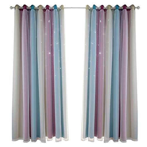 NEUE Vorhang Durchbrochene Sterne Gradienten Black out für Kinder Schlafzimmer, bunte Doppelschicht Original Vorhänge für Jungen Mädchen Prinzessin Zimmer, Wohnzimmer 100 × 250 cm (2 stücke)